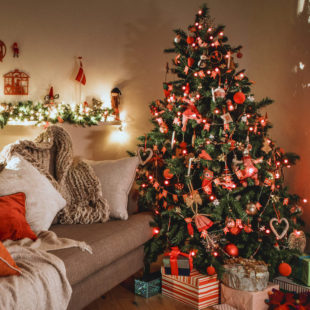 danish home at christmas with traditional decorations and tree